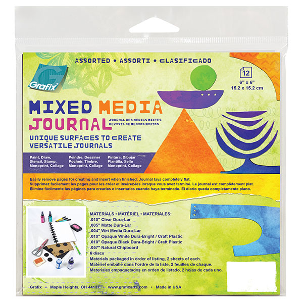 Grafix, Assorted, Mixed Media Journal, with Discs, 6×6, 12 pages